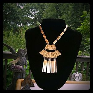 VINTAGE Egyptian Revival Unique GokdTone Necklace
